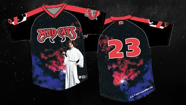 The Carolina Mudcats will wear these special jerseys during games from May 5 to May 7. They'll be auctioned off to raise money for the Make-A-Wish Foundation of Eastern North Carolina. Courtesy: Carolina Mudcats
