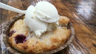 Peach and raspberry cobbler from Mama Bird's Cookies + Cream
