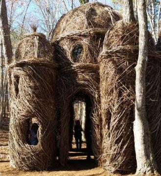 A Sight to Behold by artist Patrick Dougherty at Hillsborough, N.C.'s Riverwalk