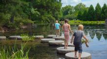 Kids on the stepping stones in the Japanese Garden at Maymont, Richmond