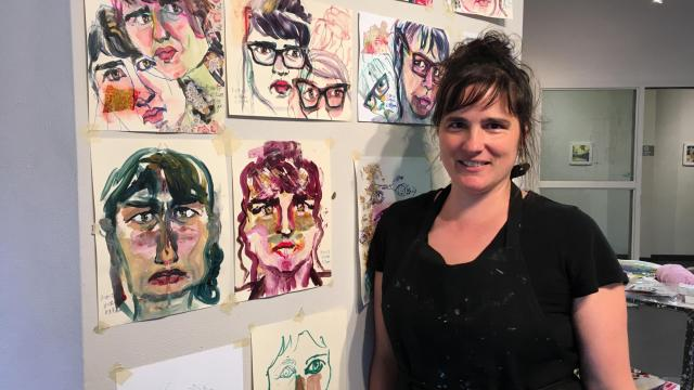 Gullow shows some of her self portraits as part of her pop-up exhibit at downtown Raleigh's Artspace.