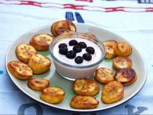Fried Plantains with homemade fruit yogurt
