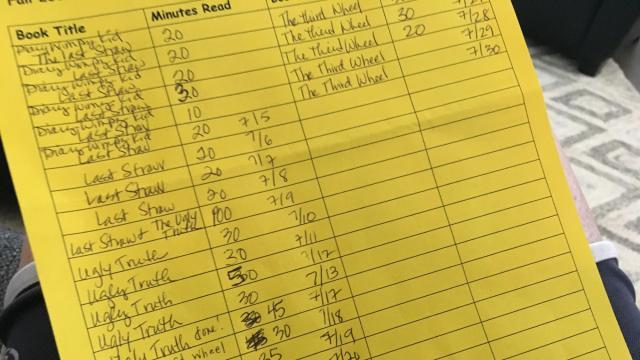 Julia Sims' son's summer reading list.