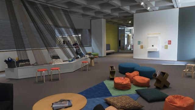 The interactive gallery offers opportunities for visitors to learn more and experiment with textiles. Courtesy: N.C. Museum of Art