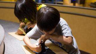 Guests at the Museum of Life and Science make their own pinhole viewer
