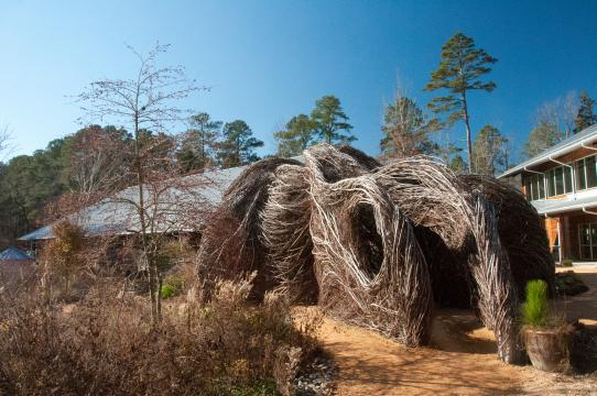 Homegrown, a piece created by Patrick Doughtery, at the NC Botanical Garden