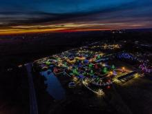 Aerial view of Hill Ridge Farms' Festival of Lights
