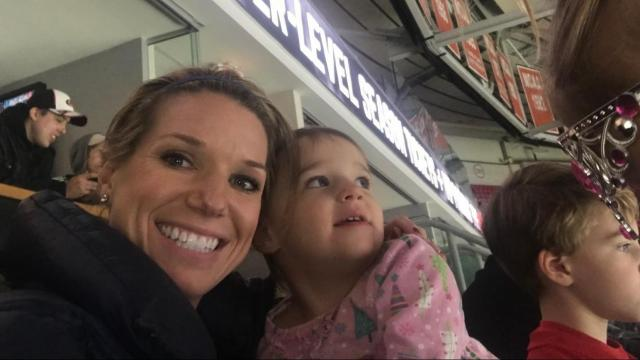 Kathryn Brown, WRAL anchor/reporter, with one of her daughters