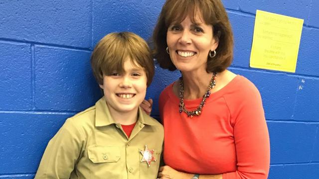 Julia Sims with her son
