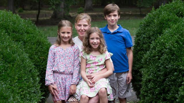Ali Joy of Richmond with her three children.