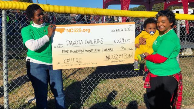 Dakota Dawkins won NC 529's Diapers to Dorms Dash