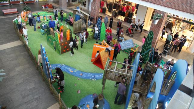 The play area is in the lower level near Macy's. Courtesy of UNC Children's Hospital