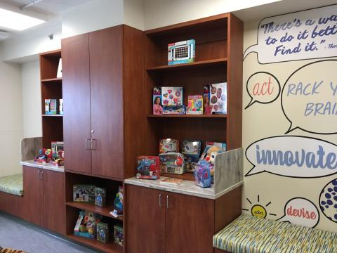 Play space inside UNC REX's new inpatient pediatric wing