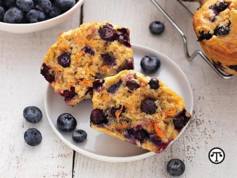 Sweet potato blueberry yogurt muffins