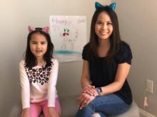 Renee Chou and her daugther Elsa during a Cherry News TV episode