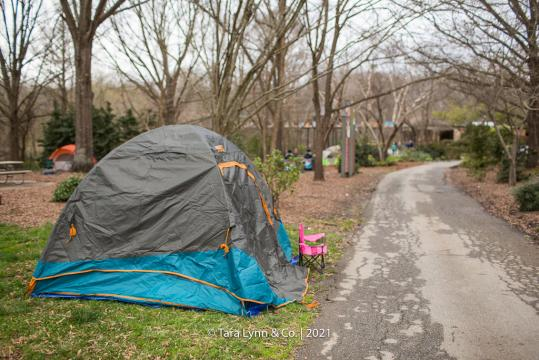 Our tent was a short walk from the picnic shelter and bathrooms