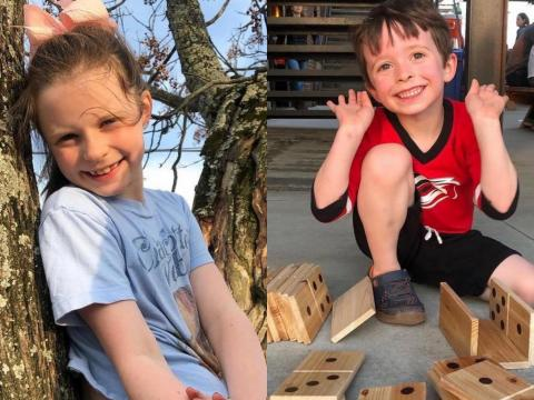 Two of my children playing outside at Ponysaurus Brewing in 2019.
