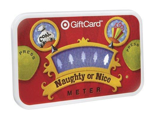 This undated photo provided by Target shows a Naughty or Nice Target gift card. The two buttons on either side of the card, when pressed, will activate the meter in the middle to bounce back and forth until it eventually stops on either naughty or nice. (AP Photo/Target, James Stanislaw)