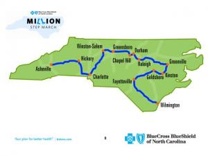 Blue Cross Blue Shield's Million-Step March begins April 1 in downtown Asheville and ends 10 weeks later in Wilmington.