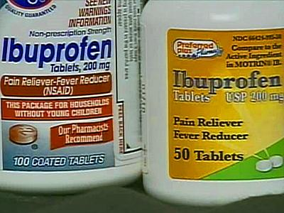 Study participants who took ibuprofen pain relievers daily for five years had a 40 percent lower risk of developing Alzheimer's, doctors said.