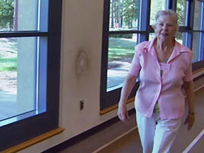 Lora Grinstead walks at the Duke's Center for Living.