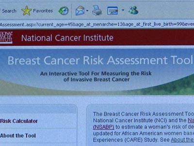 A screenshot of the breast cancer risk assessment test available through the National Cancer Institute Web site.