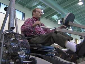 Heart-failure patient Perry Norris, 63, exercises.