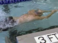Harold Liles swims a lap in the pool at Rex Wellness Center.