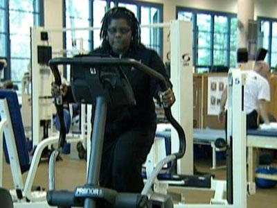 Lise Coleman exercises. She is among 2,000 patients with heart failure who are participating in a study at Duke.
