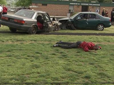 A video of this made up crash scene is shown to real Cary High School students in preparation for their prom Friday night.