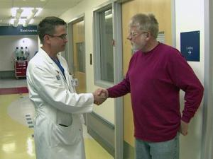 Kevin Osteen talks with his doctor.