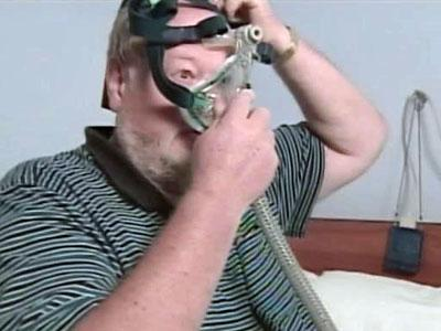Mogens Petersen is being treated for sleep apnea. He uses a ventilation machine to treat his apnea.