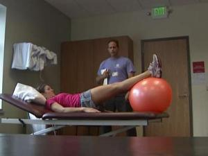 Allison Bingham, a triathlete and church youth pastor, gets treatment for an injured ACL.