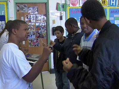 Autistic students at Durham's School for the Performing Arts work with the group Voices Together.