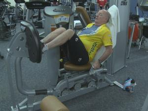 Retired architect Archie Gupton works out to stay healthy after open heart surgery.