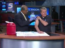 David Crabtree gets a flu shot