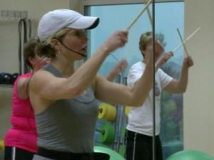 At the Rex Wellness Center in Garner, there's a lot of pounding going on. Instructor Laurie Kelly has assembled a very large percussion section for the center's latest aerobic craze: drum class.