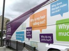 A big purple bus is hitting Triangle roads to raise awareness and advance lupus research.