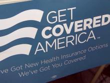 Get Covered America sign, Affordable Care Act