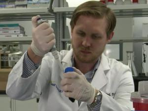 A researcher at Heat Biologics works on a vaccine that could help attack bladder cancer.