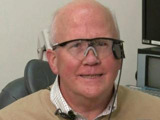Larry Hester, who has been blind for more than three decades, is able to see high-contrast images with the help of a high-tech implant he received at Duke Eye Center.