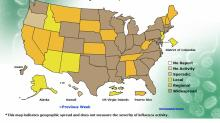CDC flu map, Dec. 13, 2014