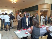 Orange County District Attorney Jim Woodall joined the line Friday to join the blood marrow donor registry.