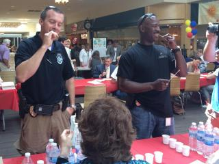 Carrboro police officers swabbed their cheeks to register their DNA profile with the blood marrow donor database.