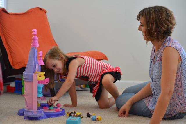 Rebecca Lynn Waite, 3½, plays with her mother, Heather Waite, in their Raleigh home.<br/>Photographer: Kelly Hinchcliffe