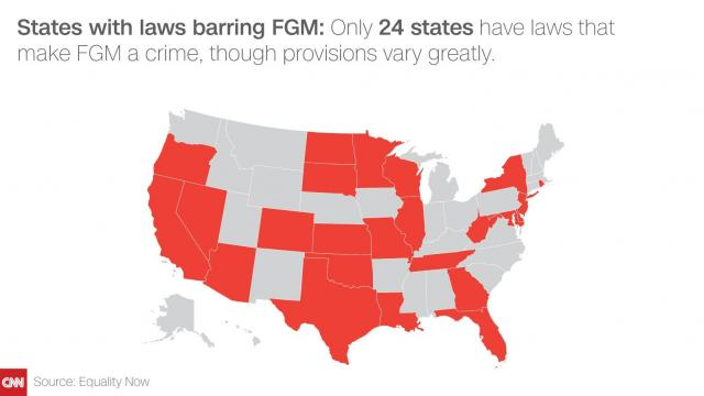 ONly 24 states have laws that make FGM a crime, though provisions vary greatly.