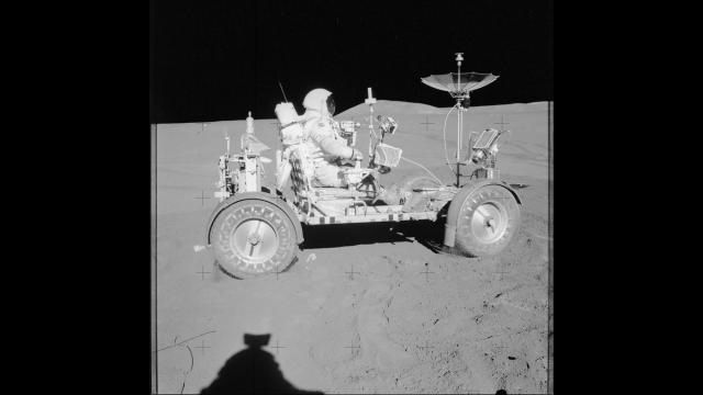 Astronaut David Scott in a Lunar Roving Vehicle during the Apollo 15 lunar mission in 1971. Samples brought back from a 1971 mission helped scientists determine there was water on the moon.