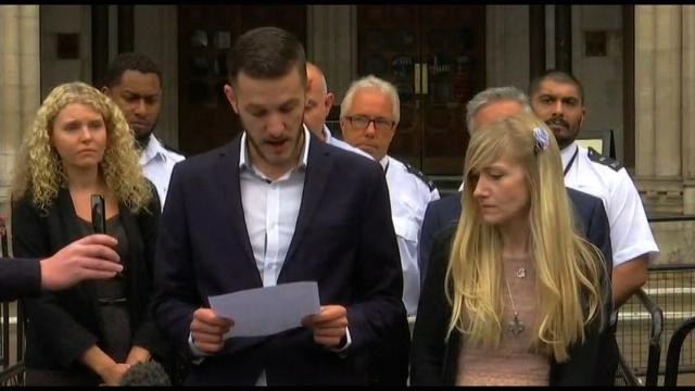 The parents of 11-month-old Charlie Gard are dropping their request for the terminally-ill infant to die at home, a UK court heard on Wednesday, July 26, 2017. Pictured is a press conference given by the parents after giving up their legal fight over treatment for their son in the U.S. on Monday, July 24, 2017.