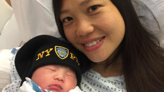 Sanny Liu with Angelina, who is sporting a special cap.
