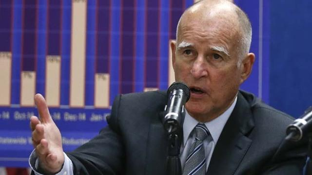California Gov. Jerry Brown talks about the drought and water restrictions following a meeting with San Diego County officials to discuss continued conservation efforts Tuesday, Aug. 11, 2015, in San Diego. (AP Photo/Lenny Ignelzi)